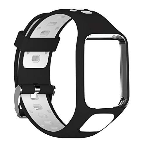 Hubei1 Pulseira de relógio de dois tons TPE ajustável, pulseira esportiva de substituição para Tomtom 2 3 Series Smart Watch Acessórios