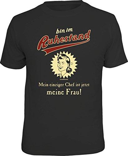 RAHMENLOS Original T-Shirt für den Rentner: Bin im Ruhestand, Mein einziger Chef ist jetzt Meine Frau!, Schwarz, XL