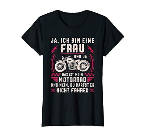 Damen Motorrad Motorradfahrerin Geschenk Spruch Motorradfahrer T-Shirt