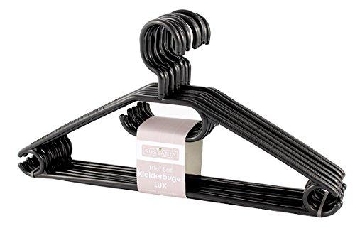 50 Stk. Kleiderbügel Kunstoff schwarz mit Krwattenhalter Gürtelhalter Antirutschrillen Haken drebar :-)