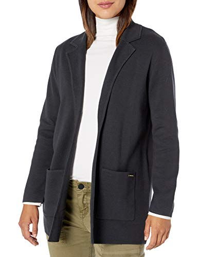 NINE WEST Women's Kissing Front Patch Pocket Cardigan with Notch Collar, Gray, M