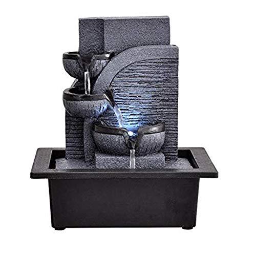 MonthYue Fuentes Decorativas Fuentes De Agua para Interiores Artesanías De Resina Regalos Fuente De Feng Shui Fuente De Escritorio para El Hogar
