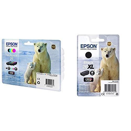 Epson C13T26164511 - Multipack 4-Colours 26 EasyMail + Premium 26XL - Cartucho de Tinta, Negro
