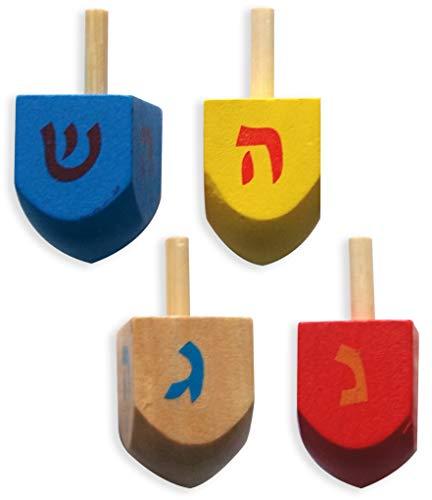 Dreidel für Chanukka, aus Holz, Geschenk für Kinder, 4 Stück