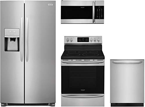"""Frigidaire 4-Piece Stainless Steel Kitchen Package with FGSC2335TF 36"""" Side by Side Refrigerator FGEF3036TF 30"""" Freestanding Electric Range FGMV176NTF 30"""" Over-the-Range Microwave and FGID2476SF 24"""" Fully Integrated Dishwasher"""