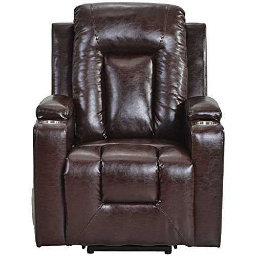 WANSE Electric Power Lift Recliner Chair Sofa 3 Positio Lift Stand Assistance Chair Lazy Boy Armchairs Side Pockets and 2 Cup Holders, Remote control Faux Leather