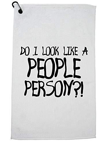 Hollywood-draad Zie ik eruit als een mensenpersoon? - Silly Graphic Print Golf Handdoek met Karabijnhaak Clip