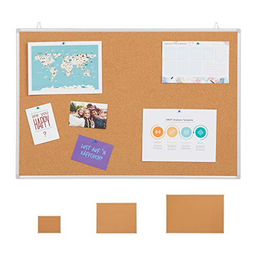 Relaxdays Tablón de anuncios de corcho con marco de aluminio, 6 agujas para oficina y hogar, 60 x 90 cm, color marrón