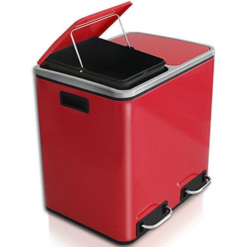 casa pura Abfalleimer Felix | Edelstahl Mülleimer mit Pedal | 2 Fach Mülltrennsystem für Küche und Büro | 30 oder 60 Liter | Trend Farben zur Auswahl (30 L - Rot)
