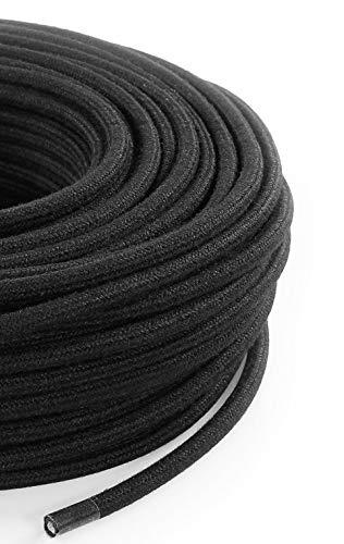 Cable eléctrico redondo/redondo revestido de tela, color negro, algodón, sección 2 x...