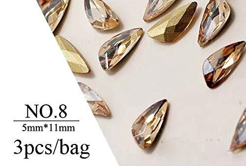 Meiyy Nageldecoratie met strass-steentjes en strass-steentjes in vleugelvorm, voor het zelf maken van sieraden, diamanten, decoratie voor nagelkunst, accessoires NO8