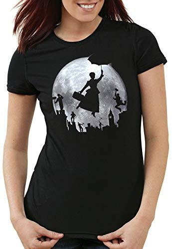 style3 Vollmond über London Damen T-Shirt Mary Poppins, Größe:M