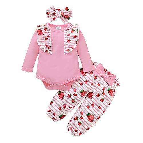 JERFER Säugling Baby Mädchen Rüschen Strampler Bodysuit Erdbeere Hose Stirnbänder Outfits A90