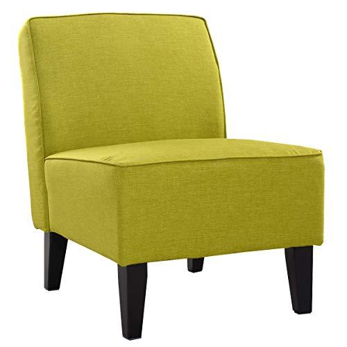COSTWAY Polsterstuhl, Esszimmerstuhl gepolstert, Loungesessel ohne Armlehne, Designerstuhl mit eingebauten Sprungfedern, Akzentstuhl für Wohnzimmer, Schlafzimmer und Büro (Grün)