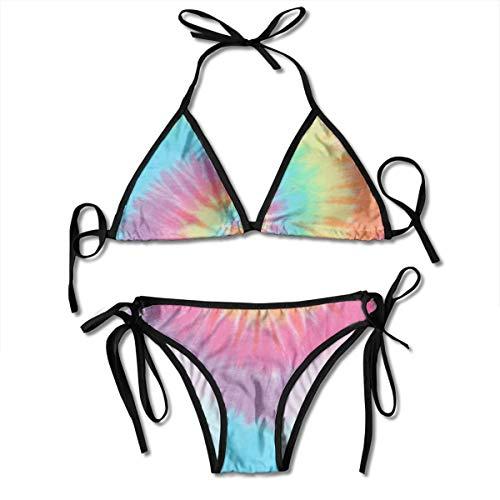 Bikini para Mujer con Vendaje En Espiral Pastel Tie Dye Halter Trajes de Baño Traje de Baño de Dos Piezas