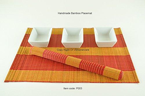 Tapis De Table En Bois De Bambou, Set De Table Fabirque' A La Main. Pack De 6, Colours Rouge-Creme (P004)