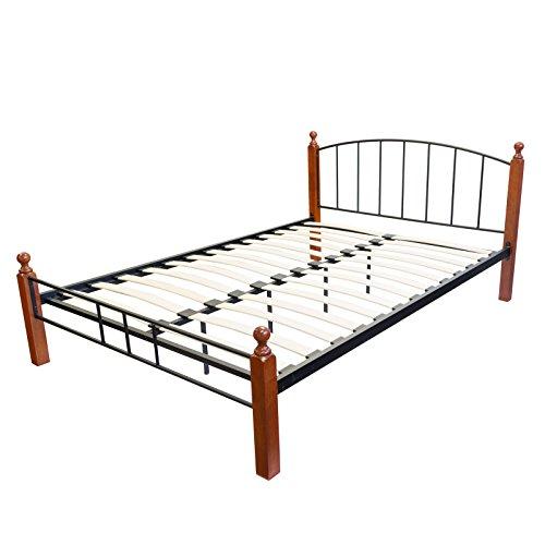Homestyle4u 986, metalen bed 180x200 zwart bruin, tweepersoonsbed met lattenbodem, hout metaal