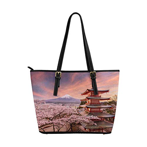 InterestPrint Japanese Mt. Fuji with Cherry Blossoms Women's Leather Tote Shoulder Bags Handbags