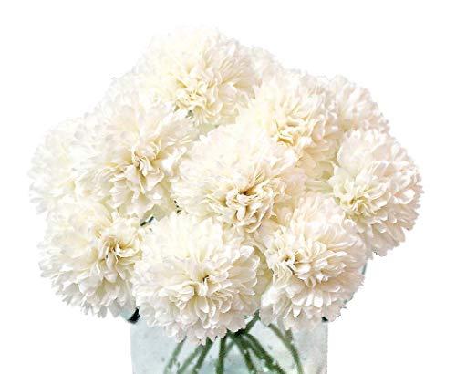 Louiesya Artificial Flowers, 10Pcs Fake Flowers Silk Artificial Chrysanthemum Ball Hydrangea Bridal Wedding Bouquet for Home Garden Party Wedding Decor (Cream)