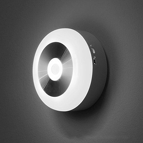 HT-Light LED nachtlampje wandlamp met bewegingsmelder voor kast (werkt op batterijen) voor trappen, hal, garderobe, ECC