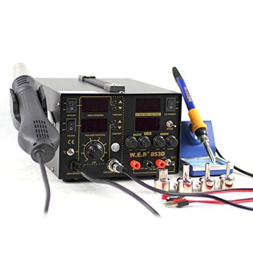 3 en 1 pistola de aire caliente Soldador Estación de retrabajo fuente de alimentación con bloqueo ajustable temperatura 220V 100 ℃ a 480 ℃