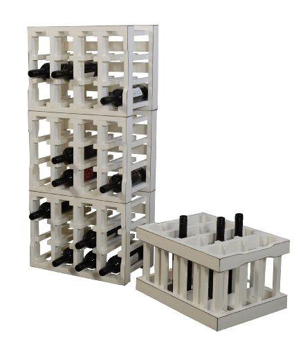 korb.outlet Weinkiste/Weinregal Modul-Bauweise für 12 Flaschen in der Farbe Antik-Weiss