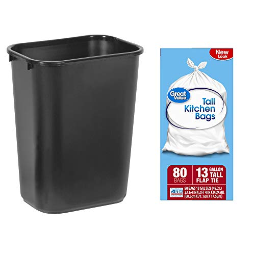 Rubbermaid Standard Series Wastebaskets in Black Bundle with Great Value Single Tall Kitchen Flap Tie Trash Bags in 13-Gallon, 80 Count