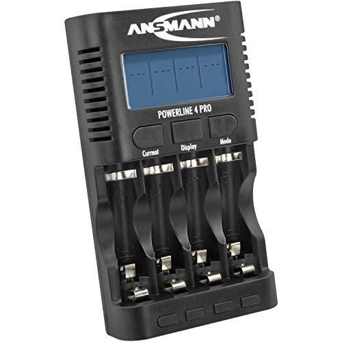 ANSMANN Batterieladegerät für 4x AA / AAA NiMH Akkus - Ladegerät mit 5 Ladeprogrammen: Laden, Entladen, Testen, Refresh, Schnellladen + USB-Lader - Powerline 4 Pro Akku-Ladegerät