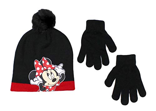 Disney Little Girls Minnie Mouse Character Hat and Glove Cold Weather Set, Black, Age 4-7