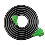 RVGUARD 30 Amp 15 Feet RV Power Extension Cord, Heavy Duty STW 10AWG 3 Wire with LED Power Indicator and Organizer Bag, 30 Amp Male to 30 Amp Female Standard Plug, Green, ETL Listed
