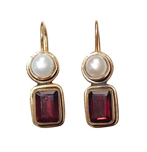 Eckige Granat-Ohrringe rot echte Süßwasser-Perle Hänger Haken verschließbar Silber vergoldet...