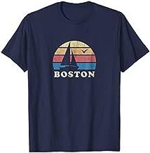 Boston MA T-Shirt Vintage Sailboat 70s Throwback Sunset Tee
