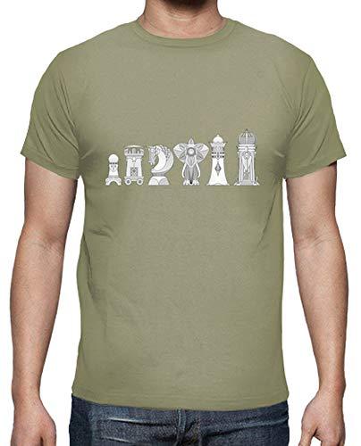 latostadora - Camiseta Ajedrez Modernista para Hombre Caqui M
