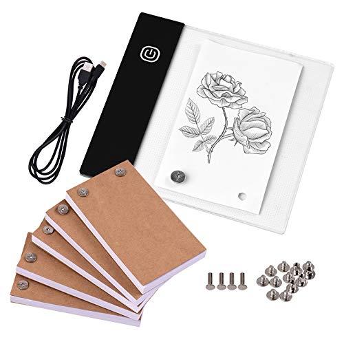 Aibecy Kit de libro con almohadilla de luz LED Lightbox Tablet con agujero 300 hojas de papel Flipbook, tornillos de unión para dibujar, trazar, animar, bocetos, creación de dibujos animados