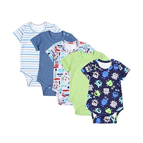 TupTam Jungen Baby Body Kurzarm in Unifarben - 5er Pack, Farbe: Farbenmix 8, Größe: 98