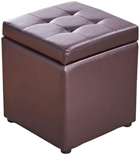 Sofá Sofá Sofá CUBE CUBE Faux Cuero Almacenaje Taburete Puf Pouf Seat, Caja de juguetes con bisagra Top Organizador Caja Puf Pecho-Negro 30x30x35cm ( Color : Brown , Size : 30x30x35cm(12x12x14inch) )