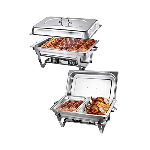 Set of 2 Chafing Dishes, 9 Litre Stainless Steel Chafing Dish with 2 Cells, Ideal for Buffets, Caterers, Receptions, Free Service Environments, Restaurants