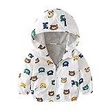 Surwin Giacca a Vento Bambino Neonato Cappuccio, Stampato Cappuccio Giacche Bambini Jacket Invernale Autunno Capispalla per Ragazzi e Ragazze 1-7 Anni (Orso Bruno,130cm)