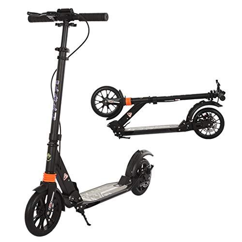 ZAQI Patinetes Kick Scooter Plegable 150 kg de Carga, Motos de Aluminio para Adultos con Freno de Mano, Planeador de suspensión DeluxeDual, 2 Ruedas Grandes, Altura Ajustable (Color : Black)