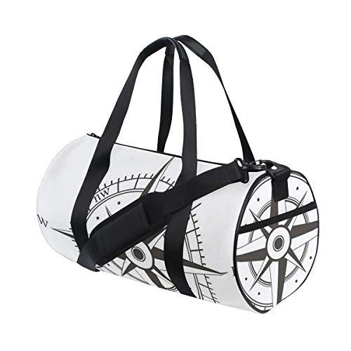 PONIKUCY Sporttasche Reisetasche,Wind Rose Old Fashion Navigationsgeräte Orientierungslauf,Schultergurt Handgepäck für Übernachtung Reisen