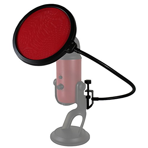 HDE Microphone Pop Filter for Blue Yeti - Dual Layer Studio Mic Wind Screen with Stand Clip and 360 Degree Gooseneck Arm - Red