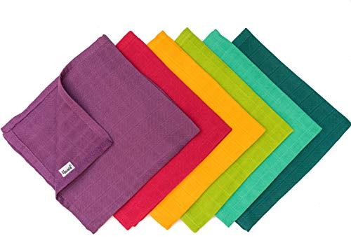 divata 35x35 cm Mulltücher (Regenbogen Mini 6er Set) - kleine, bunte Spucktücher, Mull Waschlappen aus weicher Baumwolle | Oeko-Tex-Zertifiziert