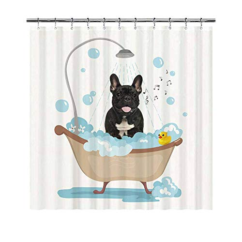 YUNBABA Dog Lover Shower Curtain Funny Dog French Bulldog Taking a Shower Lovely Curtains for Bathroom Decor 66x72 Inch