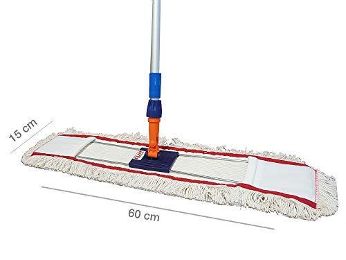 Clim Profesional® - Mopa plana industrial de algodón de 60 cms con bastidor abatible y mango de aluminio 150 cms para limpieza en seco y húmedo