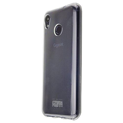 caseroxx TPU-Hülle für Gigaset GS185, Tasche (TPU-Hülle in blau mit & ohne Bildschirmschutz) (TPU-Hülle mit Bildschirmschutz, transparent)