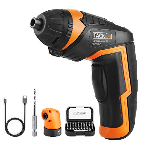 TACKLIFE SDP51DC Cordless Rechargeable Screwdriver, 4-Volt MAX 2000mAh Li-ion Torque 4N.m - LED light, 31pcs Driver Bits, USB Charging Cable, for mounting furniture such as shelves and mini-blind