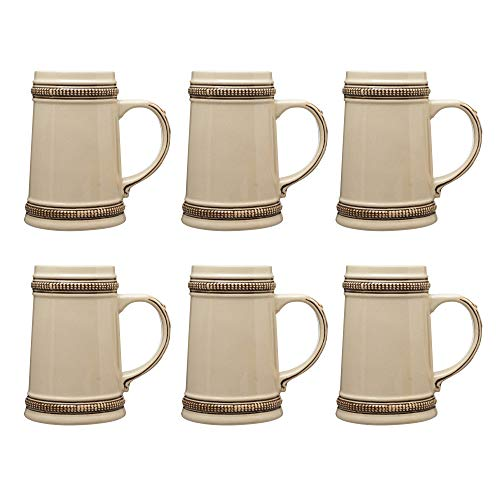 Ceramic Beer Steins 18.5 oz. - 6 pack - Birthday favors, Oktoberfest, Funny, Novelty, Dad, Fathers Day, Germany, German favorite - Brown
