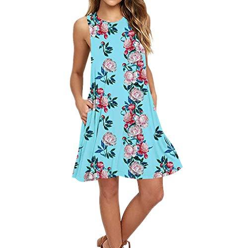 Vestido Floral de Fiesta sin Mangas con Estampado Floral Estilo Boho Maxi de Noche para Mujer De Coctel Vestido De Esmoquin con Cintura Alta Dobladillo Verano Mujer 2019 De Moda con Vestido