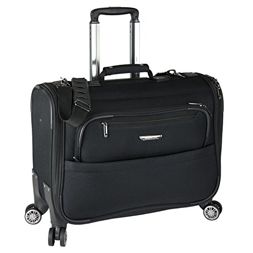Traveler's Choice Carry-On Softside 8-Wheeled Spinner Garment Bag Luggage, Black, 21-Inch