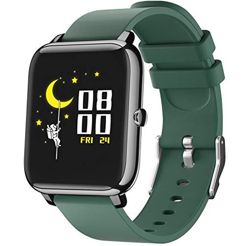 SmartWatch, Reloj Inteligente con Pantalla táctil IP68,Monitor de Sueño,Control de Musica,Pulsera Actividad Inteligente,Reloj Inteligente para Android e iOS(Verde)